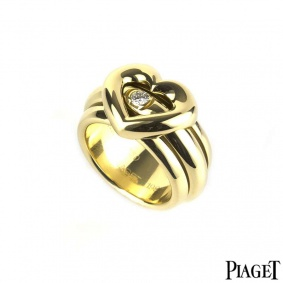 Piaget 18k Yellow Gold Diamond Possession Heart Ring Size 51/ L1/2